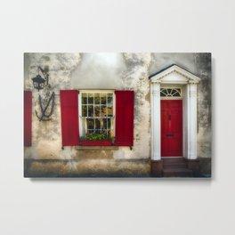 Charleston Red Door And Shutters Metal Print