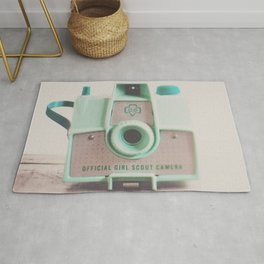 mint green vintage girl scout camera photograph Rug