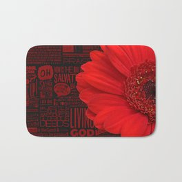 Red African Daisy Praise The Lord Bath Mat