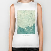 vintage map Biker Tanks featuring Toronto Map Blue Vintage by City Art Posters
