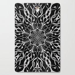 Floral Black and White Mandala Cutting Board