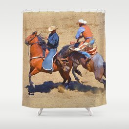 The Saddle Bronc and the Pickup Man - Rodeo Art Shower Curtain