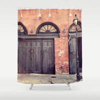 doors Shower Curtains featuring Black Doors by Erin Johnson