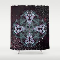 lions Shower Curtains featuring GEOMETRIC LIONS by Maristry