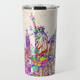 New York skyline colorful collage Travel Mug