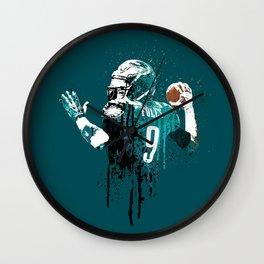 Sports art _ Nick Foles on green Wall Clock