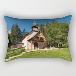 Small church surrounded by nature under the Seekofel Rectangular Pillow