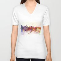 liverpool V-neck T-shirts featuring Liverpool skyline in watercolor background by Paulrommer
