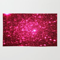 glitter Area & Throw Rugs featuring Hot Pink Glitter Stars by 2sweet4words Designs