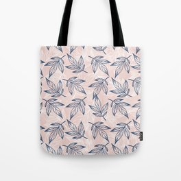 Modern navy blue white coral watercolor leaves floral Tote Bag