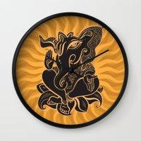 hindu Wall Clocks featuring Hindu God Ganesha by Smyrna