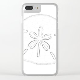 Sand Dollar Blessings - Black on White Pointilism Art Clear iPhone Case