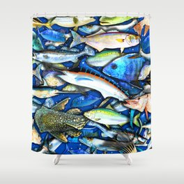 DEEP SALTWATER FISHING COLLAGE Shower Curtain