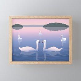 Swimming Swans on the Lake Framed Mini Art Print