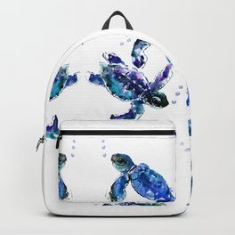 Three Sea Turtles, Marine Blue Aquatic design Backpack