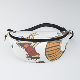 Hobbes Dancing with Vinyl Phonograph, Cute Artwork, Tshirts, Art Posters, Prints, Bags, Men, Women, Fanny Pack