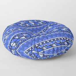 Latin American Pattern Blue. Zigzag Squares Triangle Patterns. Mexican Art. Funky Floor Pillow
