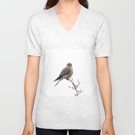 Perched sparrowhawk 8 Unisex V-Neck
