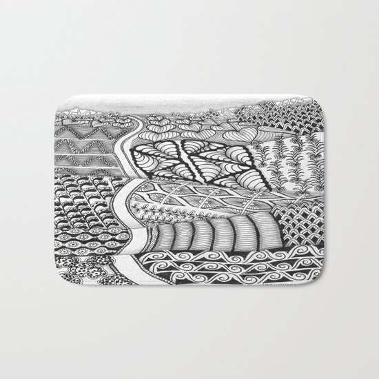 Zentangle Fields of Dream Black and White Adult Coloring Illustration Bath Mat