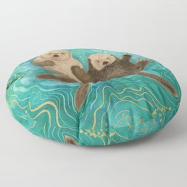 Otters Holding Paws, Floating in Emerald Waters Floor Pillow