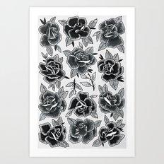 Dozen Roses - Black and White Art Print