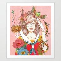 nirvana Art Prints featuring Nirvana by Natsuki Otani