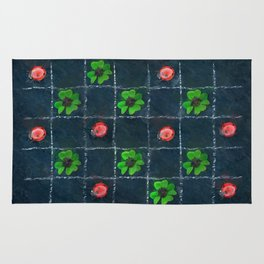 Clover and ladybugs tic-tac-toe pattern Rug