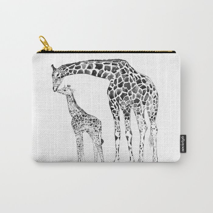 Giraffes, black and white Carry-All Pouch