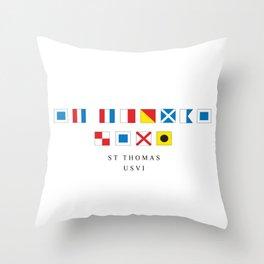St Thomas USVI Nautical Flags Throw Pillow