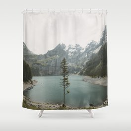 Lone Switzerland Tree - Landscape Photography Shower Curtain
