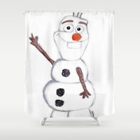 olaf Shower Curtains featuring olaf from frozen by Art_By_Sarah