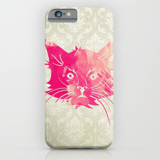 Pink Watercolor Cat Vector Vintage Floral Damask iPhone & iPod Case