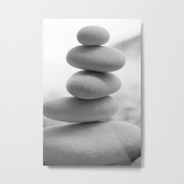 Zen beach rocks print, balancing rocks, mnimalist Beach decor, wall art Metal Print
