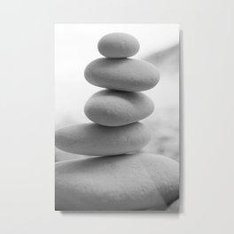 Zen beach rocks print, balancing rocks, mnimalist Beach decor, wall art Metal Print