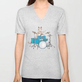 Cat Playing Drums - Blue Unisex V-Neck