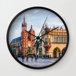 Cracow Main Square art Wall Clock
