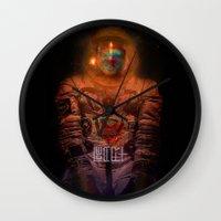 spaceman Wall Clocks featuring Spaceman by L. A. Tara