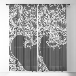 Zen Tree Rebirth Black Right Half Sheer Curtain