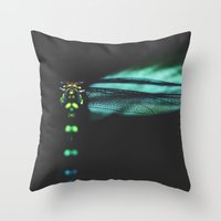 dragonfly Throw Pillows featuring dragonfly by Ingrid Beddoes photography
