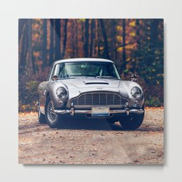 Classic car vintage retro,silver Metal Print