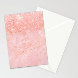Blush Star Glitter on Marble Stationery Cards
