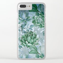 Painterly blue teal cactus pattern Clear iPhone Case