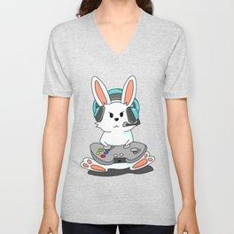 Gaming Bunny Gamer Rabit Headset Gamepad Gift Unisex V-Neck