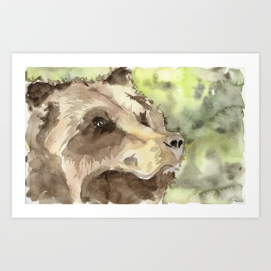 watercolor bear Art Print