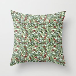 Watercolor winter berries Throw Pillow