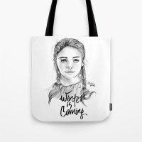 arya Tote Bags featuring Arya stark by Nicolaine