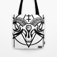 atheist Tote Bags featuring Godless Youth by headsofbirds
