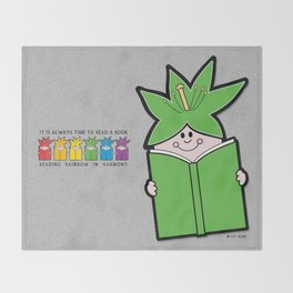 Reading Rainbow in Harmony - Green Throw Blanket