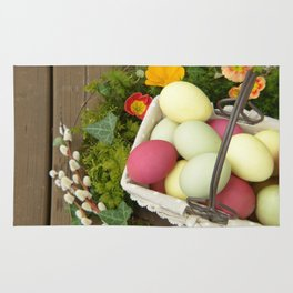 Easter Eggs in Basket - Cafe or Restaurant Decor Rug