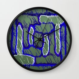 vintage psychedelic painting texture abstract background in dark blue and grey Wall Clock